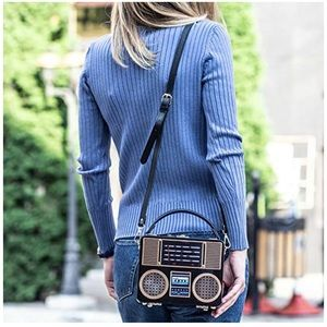 Hard Case Acrylic Radio Box Clutch Shoulder Bag